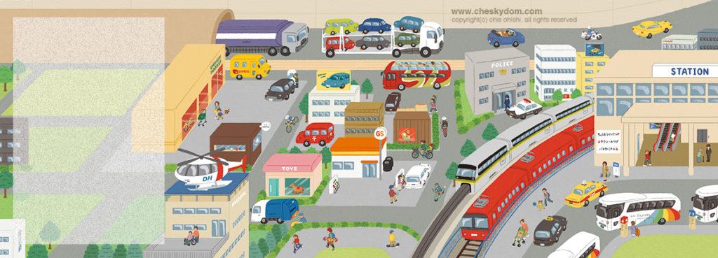 乗り物がたくさん走っている街の俯瞰イラスト
