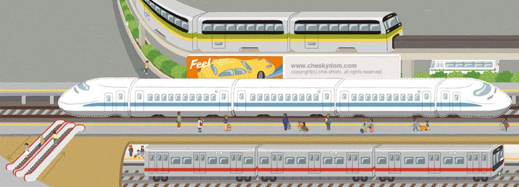 モノレール、新幹線、地下鉄のイラスト