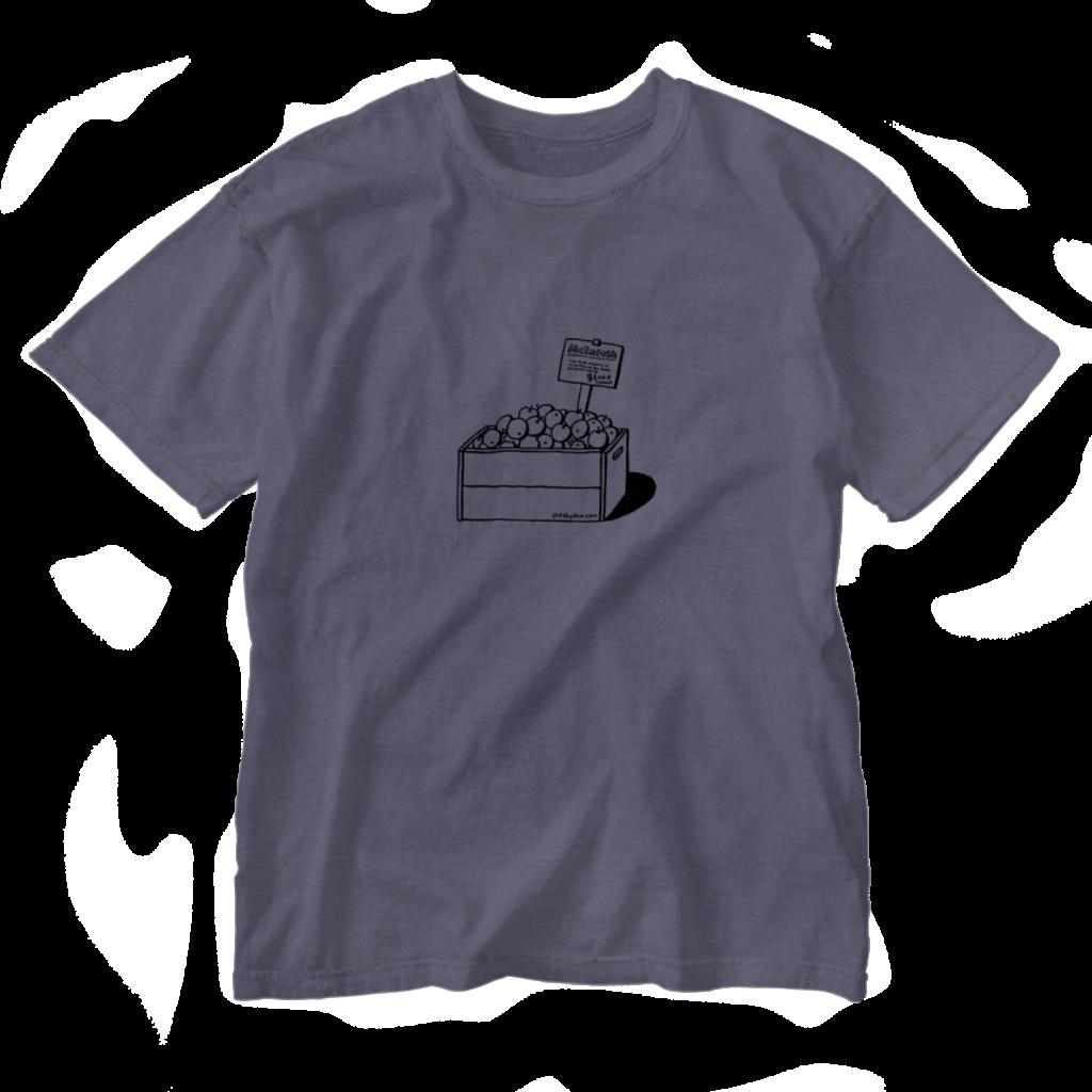 ボックス入りリンゴの線画のTシャツ