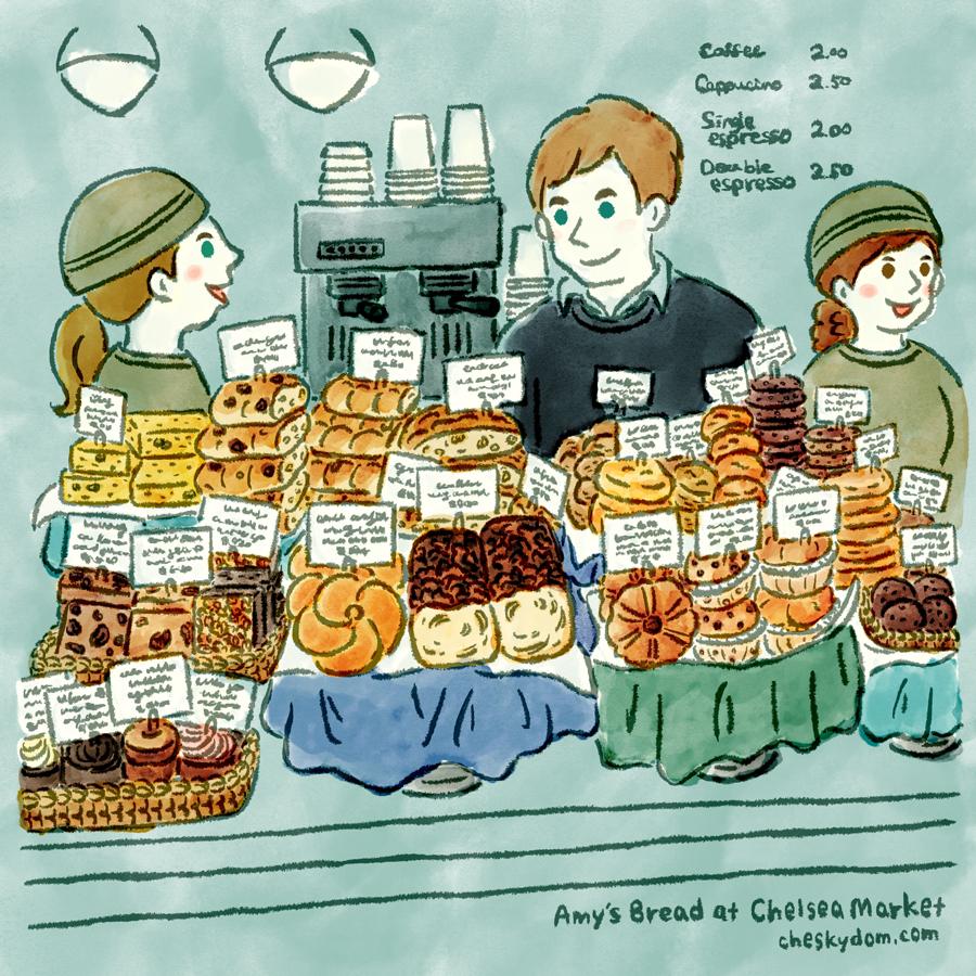 チェルシーマーケットの中にあるAMY'S BREADの店内のイラスト