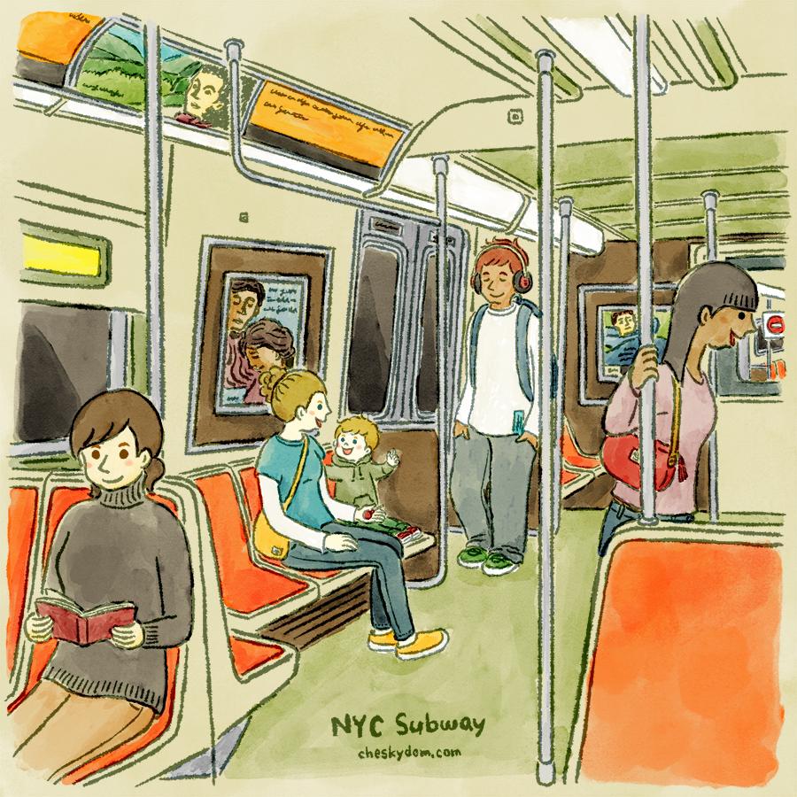 ニューヨーク市営地下鉄の車内のイラスト