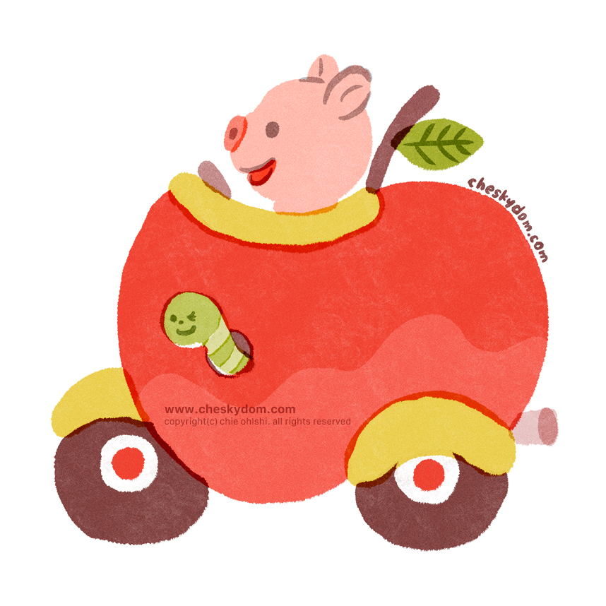 リンゴの形の乗り物に乗ったブタのキャラクターのイラスト。リンゴから青虫がひょっこり顔を出している。