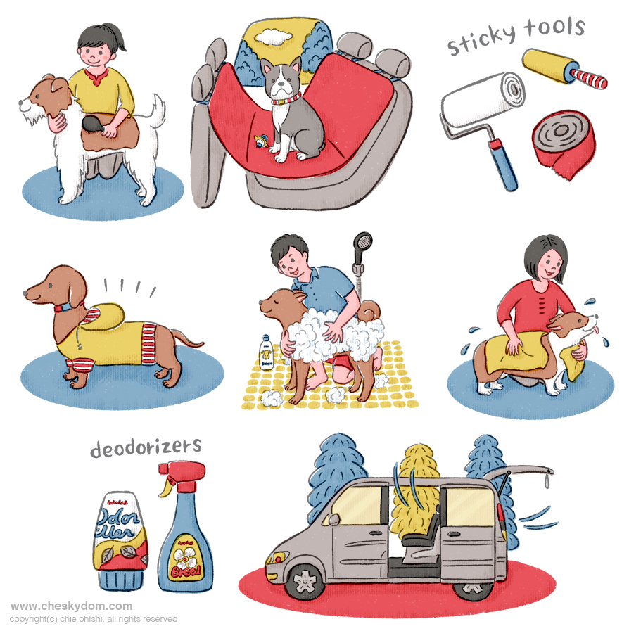犬のケアをする飼い主や車のイラスト