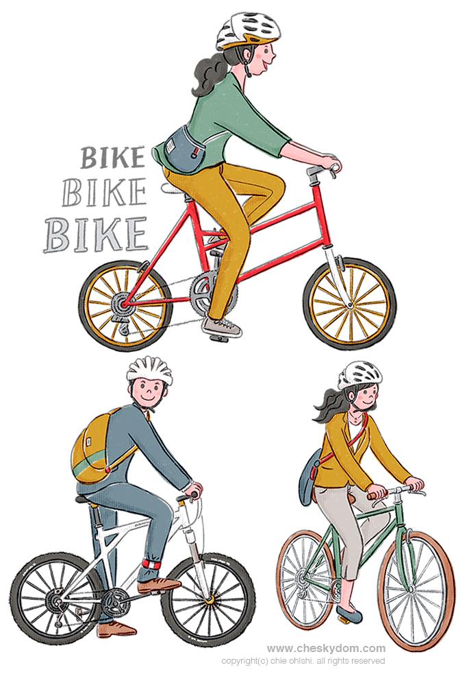 自転車に乗る人物のイラスト