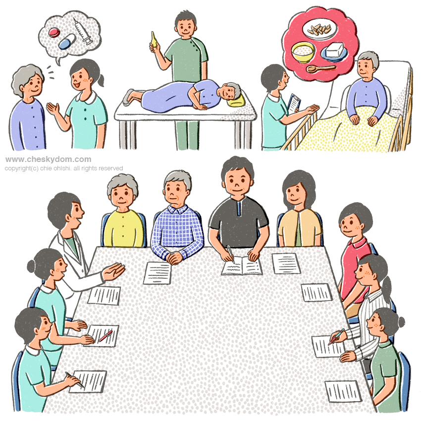 患者さんや家族と医療スタッフのイラスト