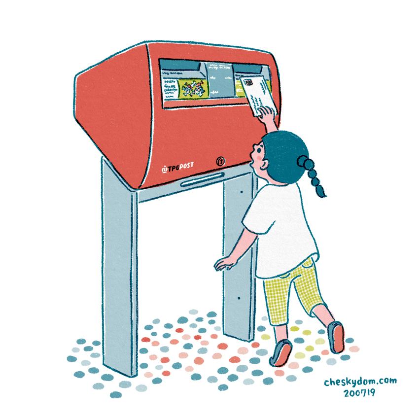 ポストに手紙を入れる女の子のイラスト