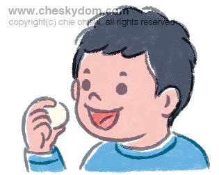 だんごを食べる男の子
