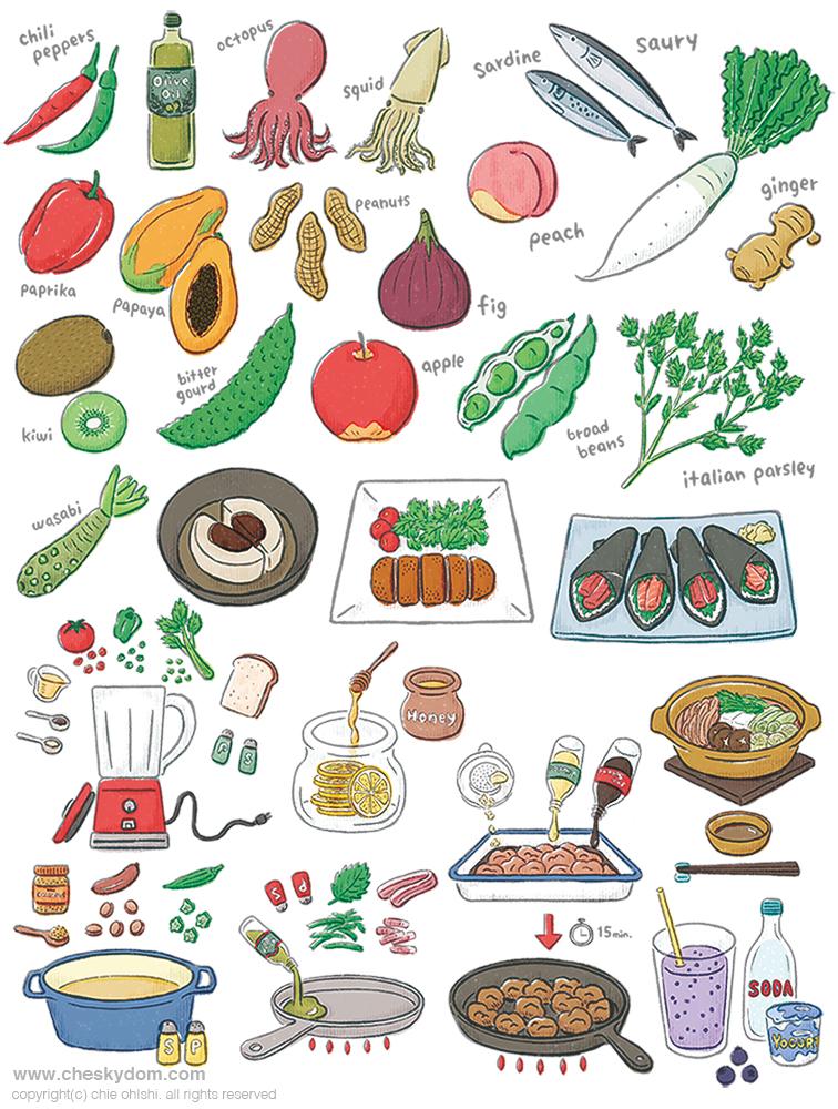 野菜、果物、料理のイラスト
