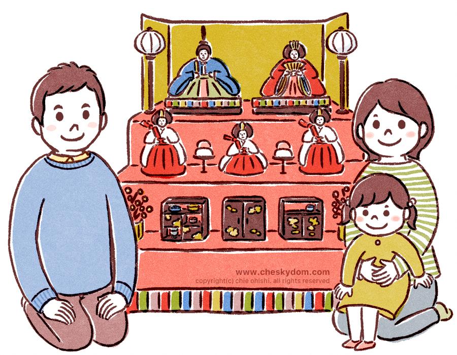 ひな祭りを祝う家族