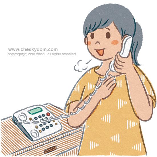 電話で話す女性のイラスト
