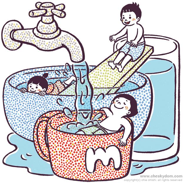水道の水で水あそびする子供達のイラスト