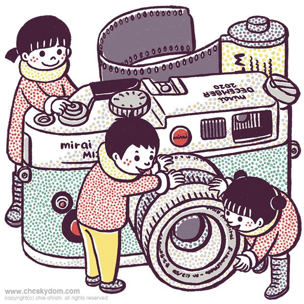 大きなカメラで遊ぶ子供達のイラスト