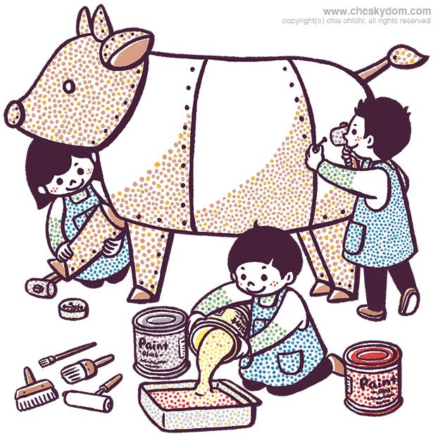 牛のオブジェを組み立てる子供達のイラスト
