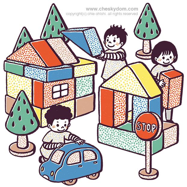 大きな積み木で遊ぶ子供達のイラスト