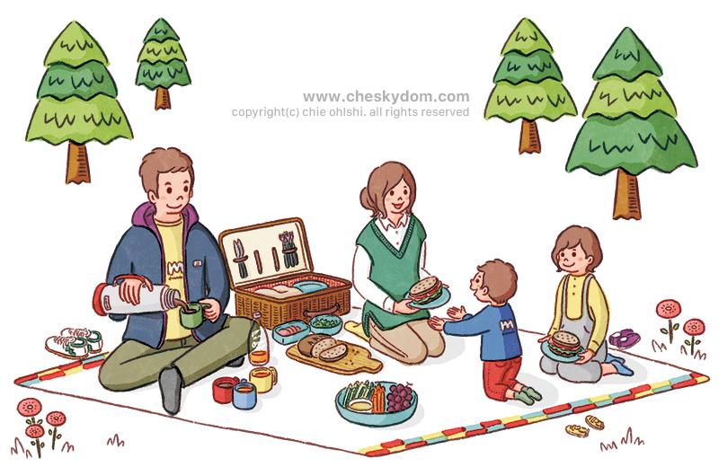 家族でピクニックをしているイラスト-森の中