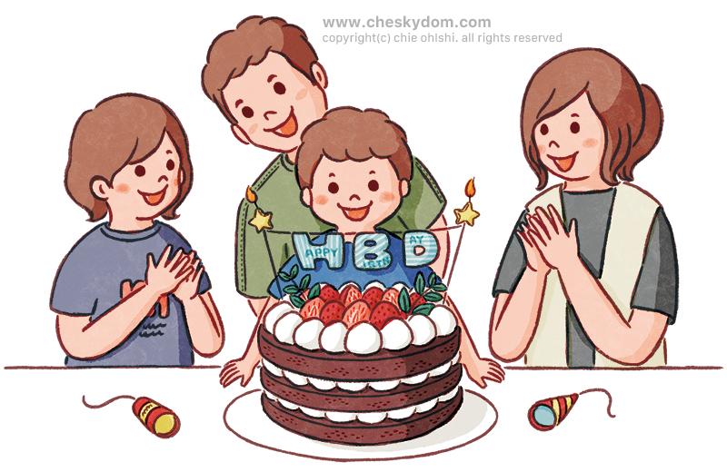 ケーキを囲む家族のイラスト
