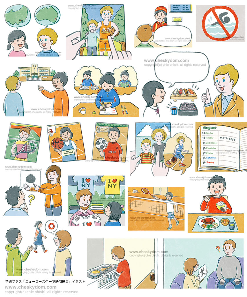 日本人学生、先生と外国人学生、先生の色々なシチュエーションイラスト