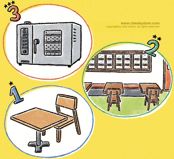 レストランの内装や設備のイラスト