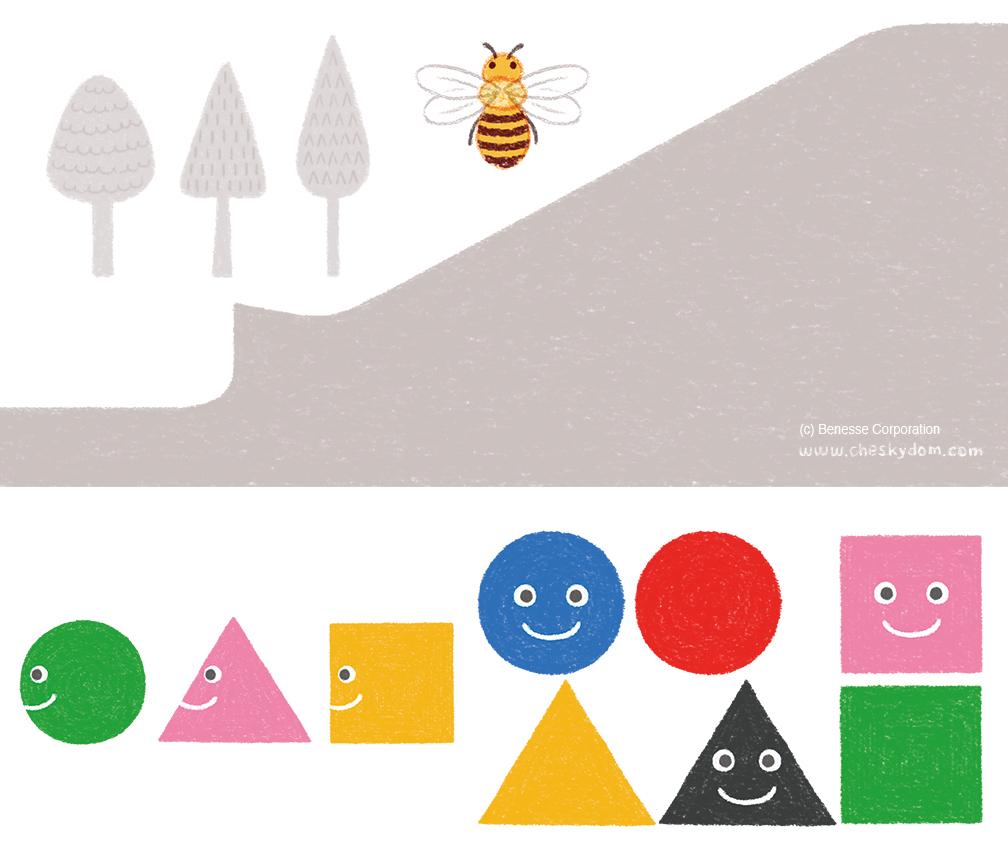 ハチ、まる・さんかく・しかくのキャラクターのイラスト