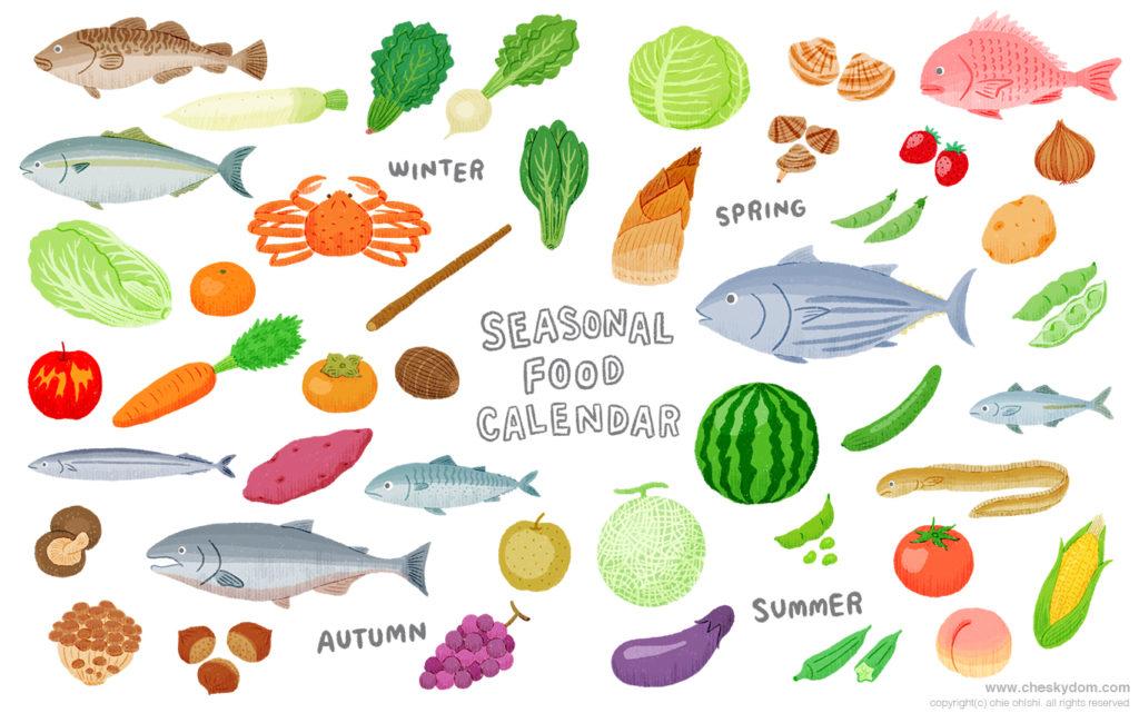 旬の野菜、果物、魚、きのこなどのイラスト