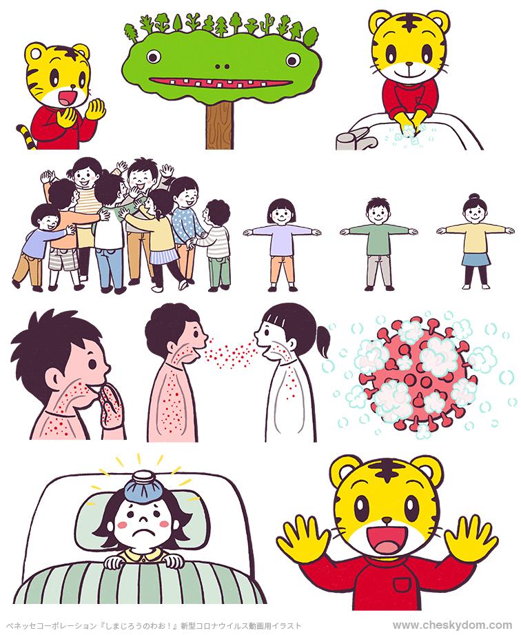 しまじろう、手洗い、密になっている子供達、ソーシャルディスタンス、新型コロナウイルス、感染症に関するイラスト