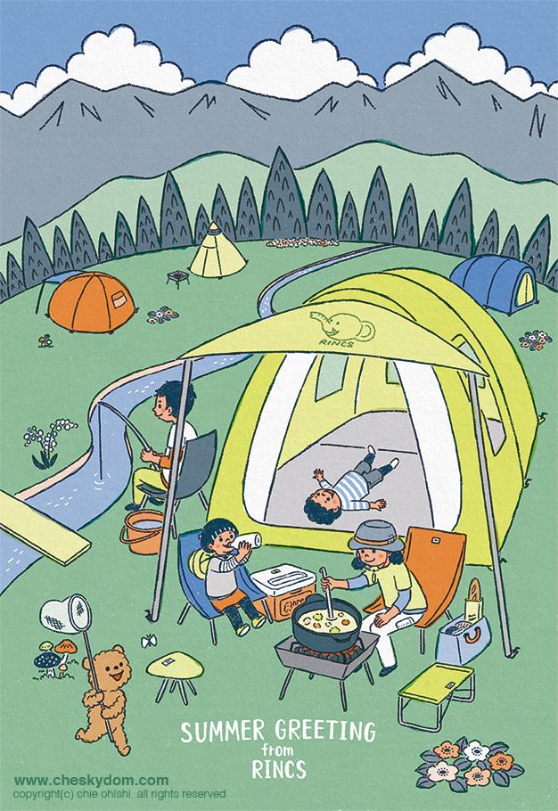 山でキャンプをしている子供達のイラスト
