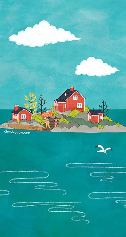 島に建っているサマーハウスと子供達のイラスト-スマホ壁紙