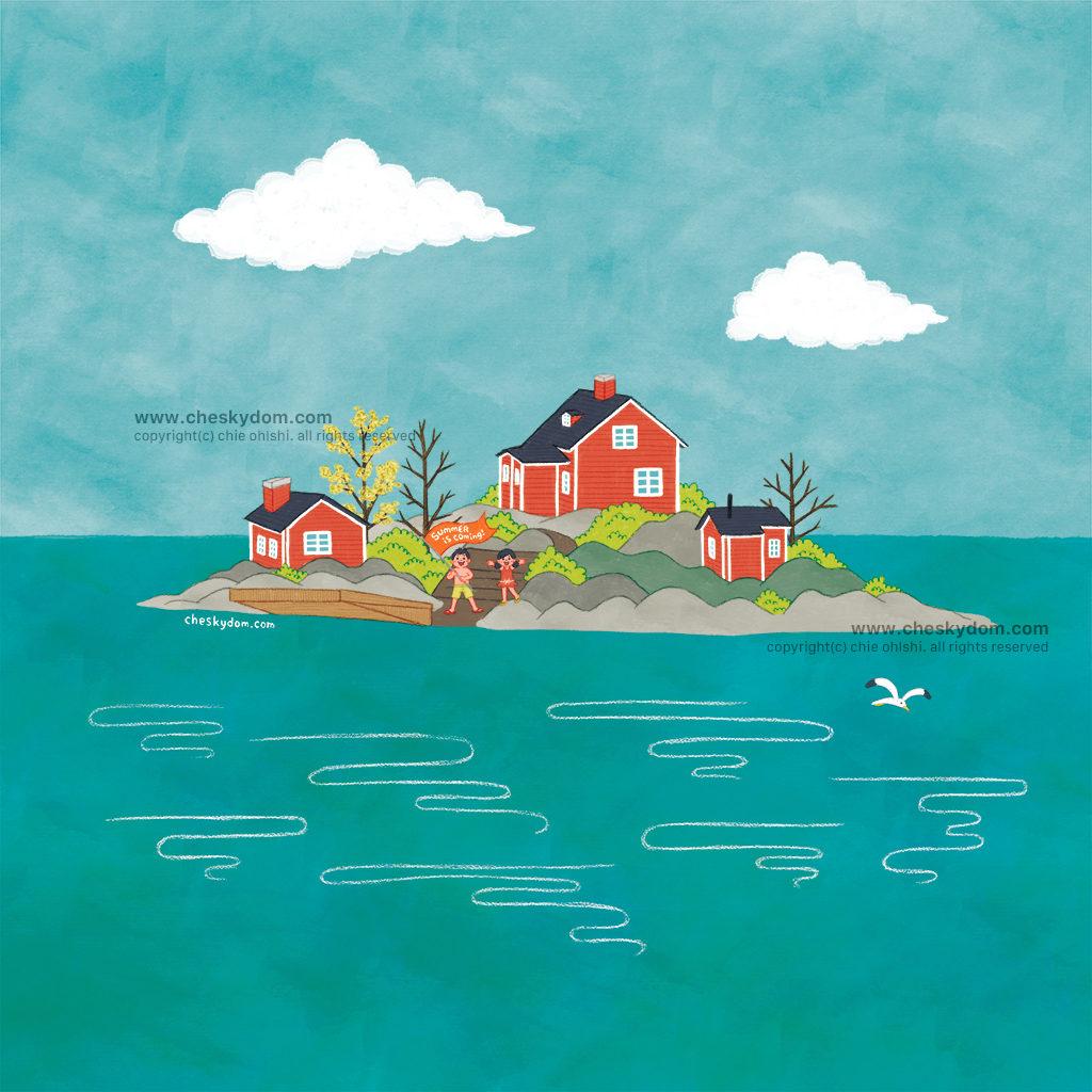 島に建っているサマーハウスと子供達のイラスト