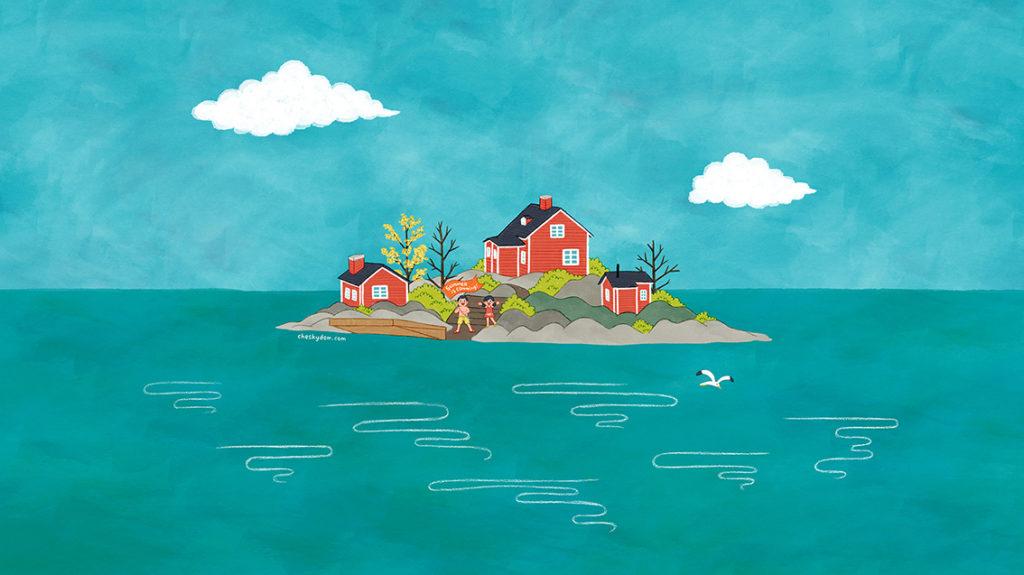 島に建っているサマーハウスと子供達のイラスト-PC壁紙