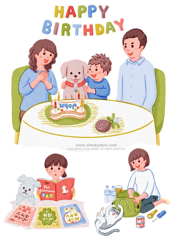 ペットと飼い主の色々なシーンのイラスト