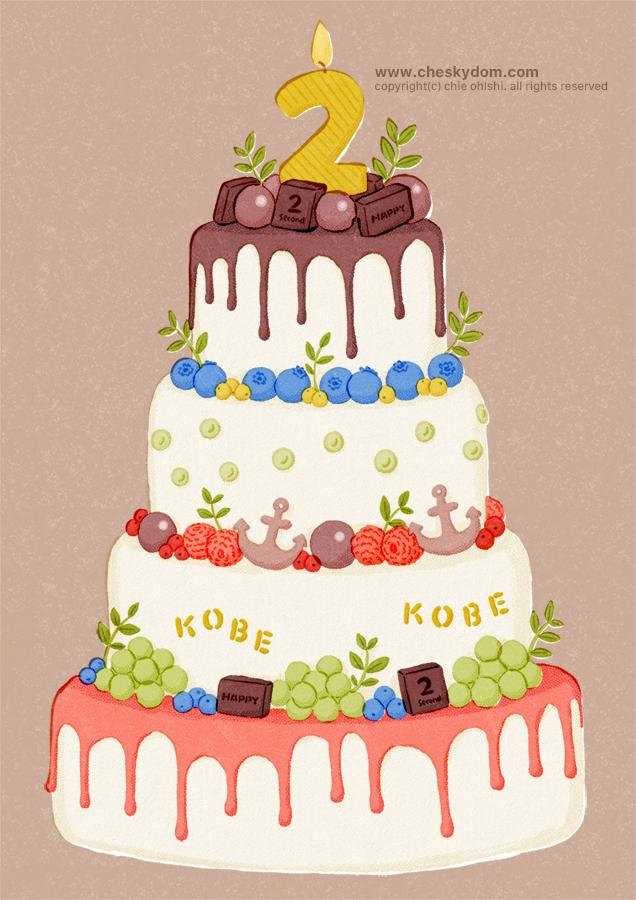 4段重ねのケーキのイラスト
