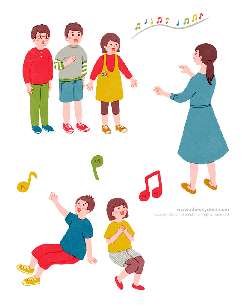 歌を歌う子供達と指揮をする先生のイラスト