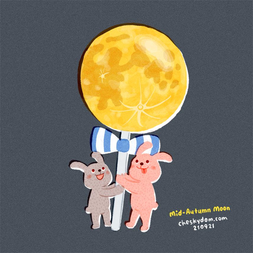 月ロリポップとウサギのイラスト