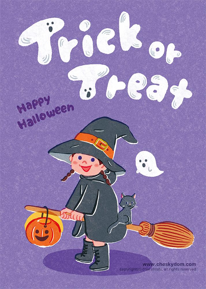 ハロウィンに魔女の仮装をした女の子のイラスト