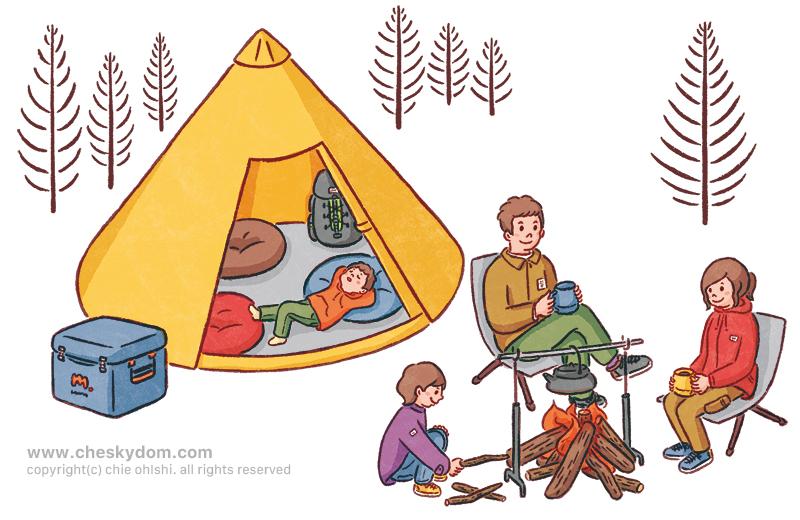 キャンプをする家族のイラスト