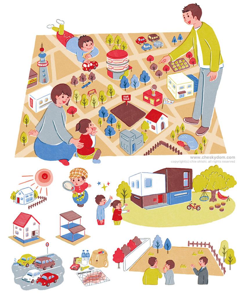 マップの上で話をしている家族のイラスト、家や道路、防災グッズのイラスト